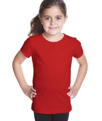 Next Level Big Girls Princess Rib Knit Softness T-Shirt, Red, (Girls Rib Tee)