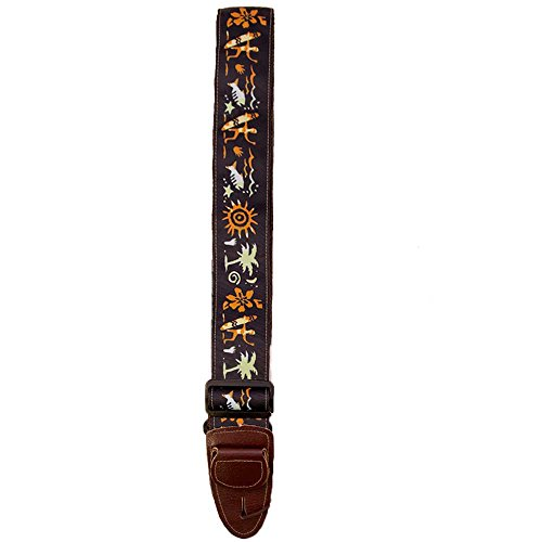 Master Strap Guitar Strap - Hawaiian Surfer - Brown Leather Ends with Built In Pick Pocket - Guitar Pick Master