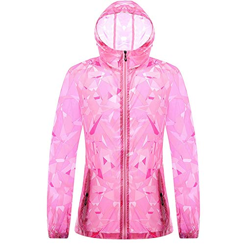 (Sun Hoodie Couple Sunscreen UV Sun Protection Hooded Outdoor Sunscreen Quick Dry Long Sleeves Fishing Shirts (XXL, Pink1))