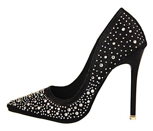 Bal Noir Mariage Stilettos Chaussures Minetom Strass Soirée Haut Brillant Talon Femme Escarpin Classique Élégant wxwOzv1q