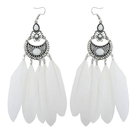 KISSPAT Natural Vintage Boho Long Handmade Feather Earrings Dangle Hook Earrings for Women - Colored Feather Earrings