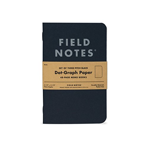 "Pitch Black Dot-Graph Memo Book 3-Pack (3-1/2"" × 5-1/2"")"