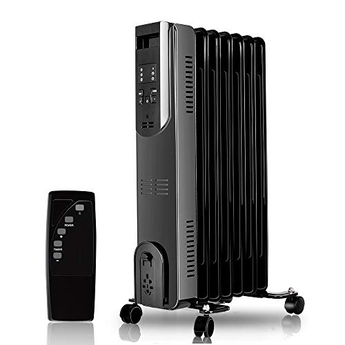 Trustech Oil Heater - Radiator Heater, Portable Space Heater with Adjustable Thermostat, 1500W, Remote Control, Digital Display, Comfortable Oil-Filled Heater, Perfect for Small, Medium & Large Room