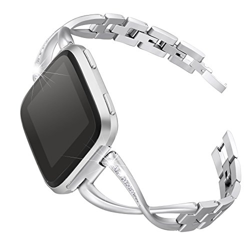 bayite Stainless Steel Bands Compatible Fitbit Versa for Women, Bling Replacement Band Bracelet with Rhinestones Diamond X-Link Accessories Watch Band, 5.3 - 7.6 Silver