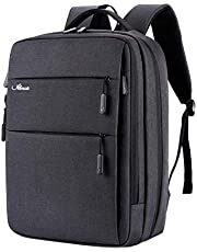 Laptop Backpack Waterproof Business Travel Bag Rucksack with USB Charging (Black)