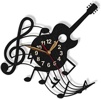 Reloj de Pared de Madera con diseño de Hoja de Guitarra, tamaño ...