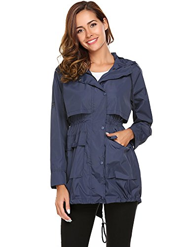 Champlain with Drawstring Solid color Jackets Meaneor Women Sleeve Long Raincoat Lightweight Hoodie EqSvAR