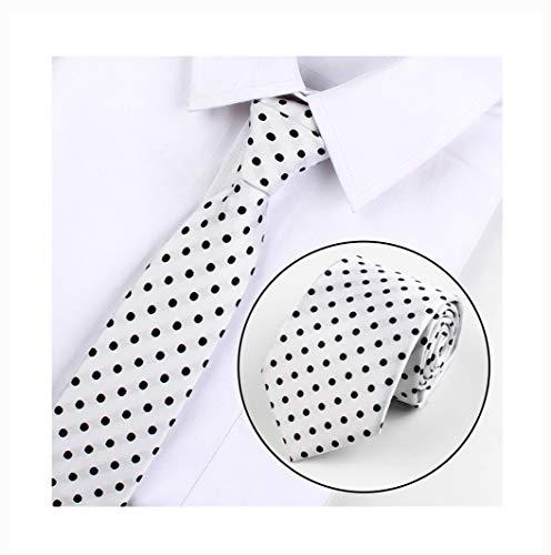 Men's Black and White Polka Dot Silk Skinny Cravat Woven Jacquard Ascot Cool Tie