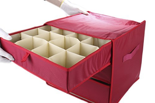 Vencer Red Christmas 41 Ornament Storage(9 Compartments for Big Ornament,32 Compartments for Standard Ornament),VHO-009