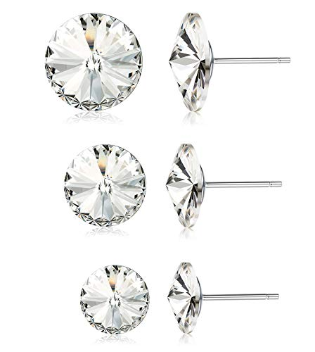 (Kesaplan 3 Pairs Crystals Stud Earrings Set, Crystals from Swarovski, 6/8/10MM Round-Cut Crystals Earrings with Steling Silver Post, Hypoallergenic Earrings)