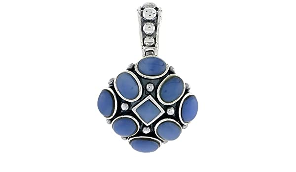24mm tall w// 5mm Square /& Eight 7 x 5 mm Oval-shaped Blue Resin Sterling Silver Oxidized Pendant 15//16