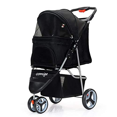 comiga Folding Pet Stroller for Dogs Cats, Three-Wheeled Animal Carrier Cage with Rain Cover Storage Basket and Mesh Window, Portable Waterproof and Breathable Black
