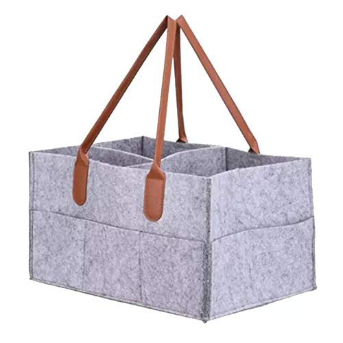 LQZ Baby Foldable Felt Diaper Caddy Storage Bag with Multi Pockets and Changeable Compartments