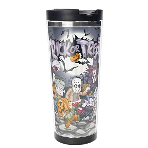Halloween Trick or Treat Costumes Double Wall Travel Mug Insulated Stainless Steel Tumbler 16 oz Coffee Cup Flask for Hot & Cold Drinks. -