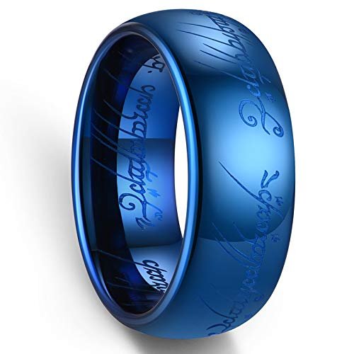 Zoesky 6mm 8mm Magic Tungsten Carbide Ring High Polished Blue Comfort Fit Wedding Band (Blue 8mm, 9)