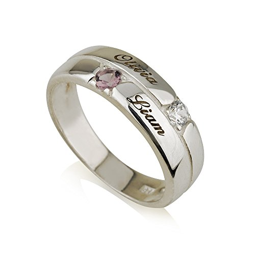 Mothers Ring Engraved Birthstone Ring 2 Stones Ring -925 Sterling Silver - Personalized & Custom Made (7.5)