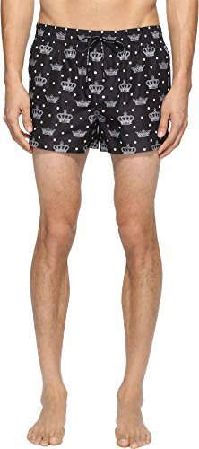 Dolce & Gabbana Men's Crown Print Mid Cut Swim Shorts Black Swimsuit Bottoms by Dolce & Gabbana