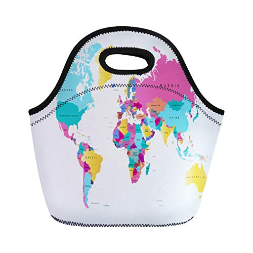 Semtomn Lunch Tote Bag Brown Abstract Color World Map Africa America Asia Atlas Reusable Neoprene Insulated Thermal Outdoor Picnic Lunchbox for Men ()