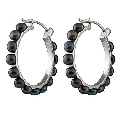 (Handpicked AAA+ Rhodium-plated 925 Sterling Silver Hoop Earrings with 4-5mm Button Freshwater Pearls (Black))