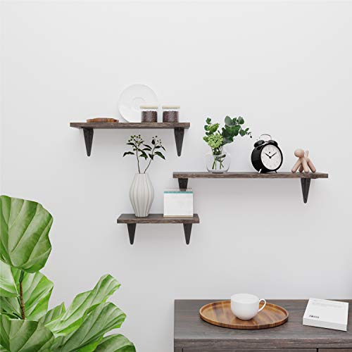 BAMFOX Floating Shelves Wall Mounted Set of 3, Rustic Bamboo Wall Storage Shelves for Bedroom, Living Room, Bathroom, Kitchen, Office and More