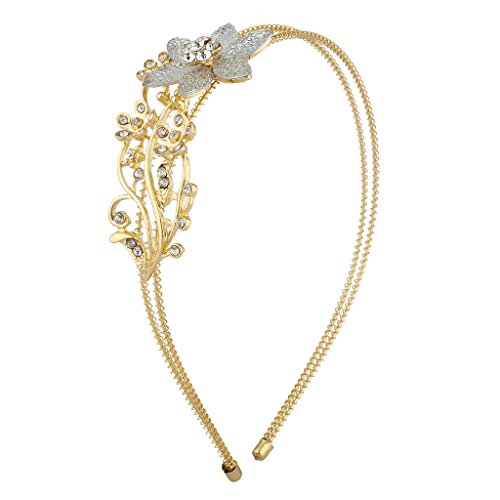 Lux Accessories Gold Tone Crystal Rhinestone Row Coil Flower Floral Headband