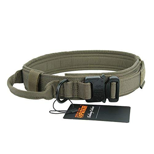 EXCELLENT ELITE SPANKER Tactical Dog Collar Military Training Nylon Adjustable Dog Collar with Control Handle(Ranger Green-M)