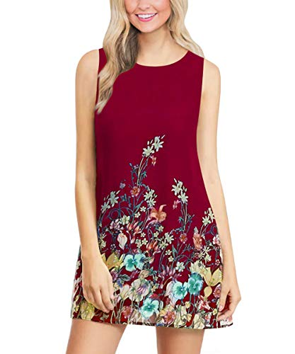 A-line Style Sleeveless Dress - GADEWAKE Womens Summer Casual Floral Printed Pocket Sleeveless Button Down Keyhole Back Flower Round Neck A-line Dresses Wine