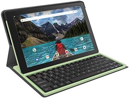 """RCA 10"""" HD Quad-Core 16GB Tablet Folio Keyboard Plus 16GB SD Card (Sage)"""