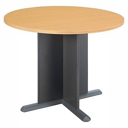 Amazoncom Round Conference Table Mahogany Top And EdgeGraphite - Round pedestal conference table
