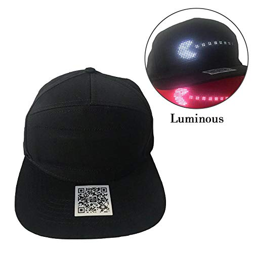 (Teepao LED Display Hat, Bluetooth Tourist Hat,Ultra Bright Waterproof LED Light Snapback Caps Perfect for Outdoor Jogging Hip-Hop Party Night Club Holiday and More)