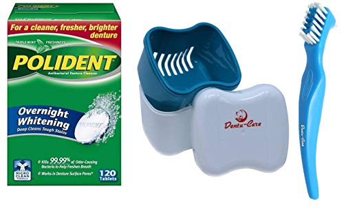 Polident Overnight Whitening Denture Cleaner Tablets 120 count with Dentu-Care Denture Case and Dentu-Care Denture Brush for Maintaining Good Clean Full/Partial Dentures