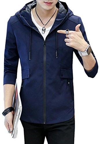 Moda Giacca Slim Sulla Fit Tasca Generici Outcoat Navy Lunga Blu Con Mens Manica Cappuccio n4q8xzAFxw