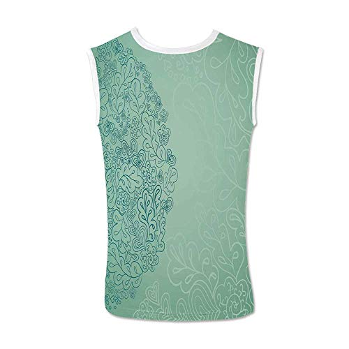 Mint Comfortable Tank Top,Floral Simplistic Pattern with Mixed Leaves Botanical Beauty Nature Illustration for Men,M