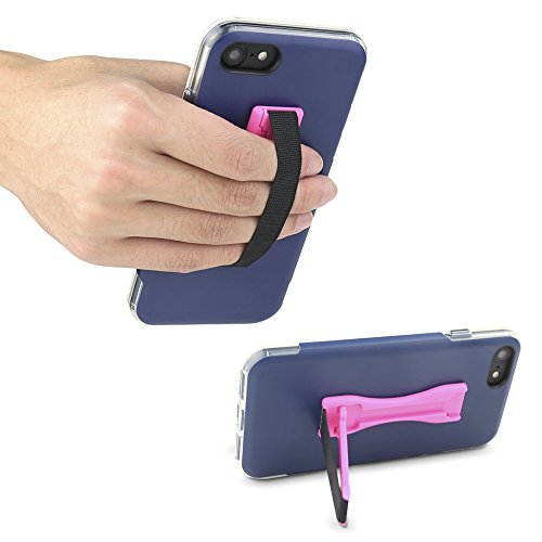 Gear Beast Cell Phone Grip Stand, Universal Phone Strap Finger Holder with Pop Out Kickstand for Men and Women, Ultra Slim Pocket Friendly - Pink