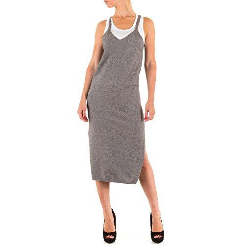 Damen Kleid ELASTISCHES STRICK KLEID KLMO3157CBX Grau uYC9DL ...