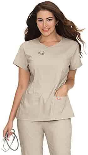 8166aa021a4 KOI Tech Women's Serena Crossover Y-Neck Solid Scrub Top X-Small Khaki