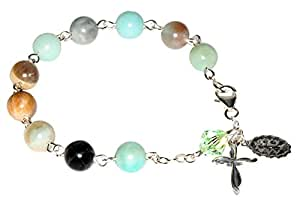 Womens Rosary Bracelet made with Amazonite Gemstones and Swarovski Crystal Element