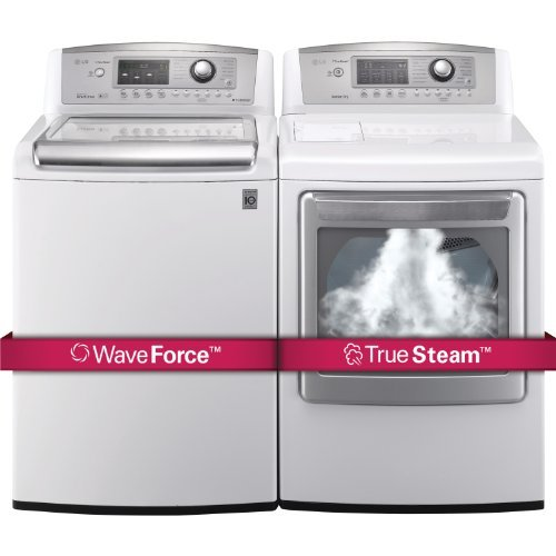 LG H/E Ultra Large Capacity H/E Top Load Laundry Pair with WaveForce Technology WT5070CW DLEX5170W...