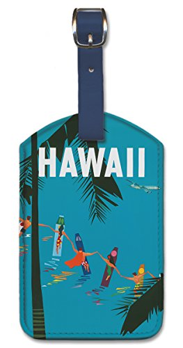 Leatherette Vintage Art Luggage Tag - Hawaii by Aaron Fine - Hawaii Fine Art