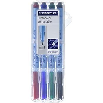 Lumocolor Correctable Marker Pens - Fine Marker Point Type - 0.6 Mm Marker  Point Size - Refillable - Assorted Ink - Polypropylene Barrel (305fwp41)