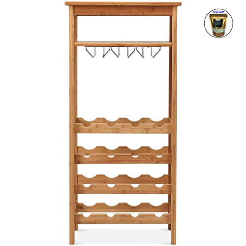 CWY 16 Bottles Bamboo Storage Wine Rack with Glass Hanger Only by eight24hours