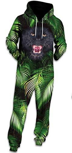 LaCouleur Men Black Bear Leaves Adult Hoodie Onesie/Pajamas Set Costume Sleepwear Hooded Jumpsuit L