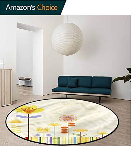 (RUGSMAT Flower Anti-Skid Area Rug,Minimalist Pattern Meadow Circle Rugs for Living Room Diameter-35)