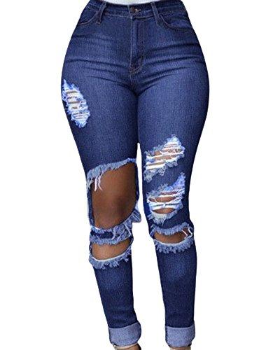 Denim Jeans Strappato Matita Blu Scuro Stretch Pantaloni Donna Leggings Lunghi R6HxH