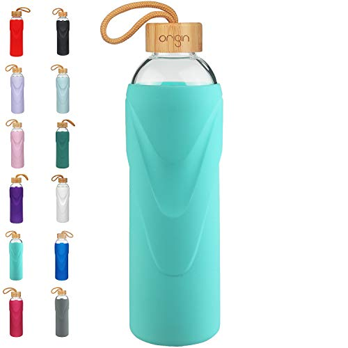 (ORIGIN Best BPA-Free Glass Water Bottle with Protective Silicone Sleeve and Bamboo Lid - Dishwasher Safe (Teal, 22 oz))