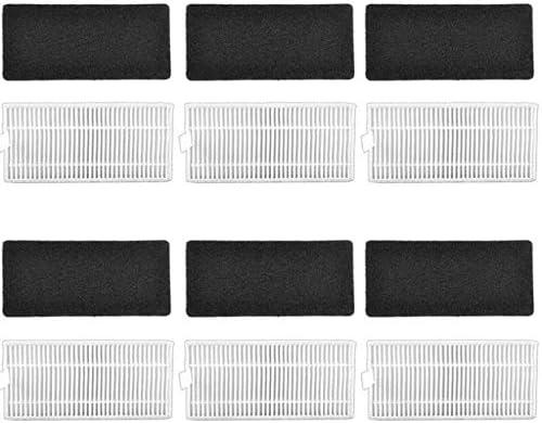 APLUSTECH Recambios para IKOHS netbot S15 Robot Aspirador 6 Cepillos Laterales 3 Mopas. Pack Accesorios de 1 Cepillo Principal+6 Filtros