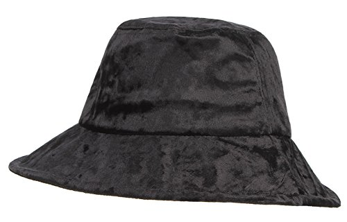 Gemvie Women Bucket Hat Formal Velvet Fisherman Cap Vintage Tea Party Derby Hat Black