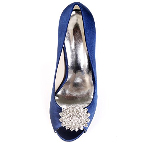 White Boda peep De Mujeres Zapatos Eleoulck Altos Punta Rhinestones Nupcial Satén Corte Tacones La zapatos Las Toe Prom Plataforma RgUwEqE