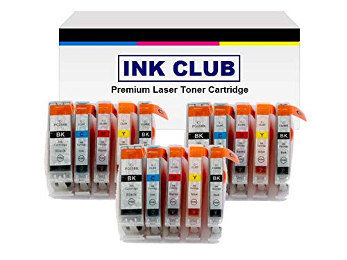 (Inkcool 15 Pack compatible Ink PGI-5BK, CLI-8BK, CLI-8C, CLI-8M, CLI-8Y Inkjet Cartridge for Canon PIXMA MP-500, MP-530, MP-830 MP-950 MP-960 MP-970 MX-850, PIXMA iP4200, iP4500, iP5200 (3BK/3SB/3C/3Y/3M))