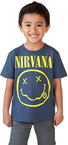 NIRVANA LICENSED Toddler Nirvana Smiley T-Shirt Blue 2T
